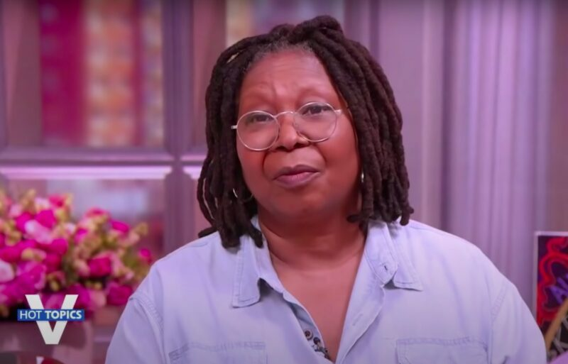 screenshot of Whoopi Goldberg in a blue shirt on the view