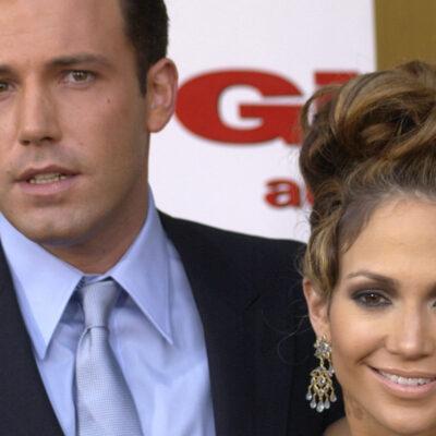 Close up of Ben Affleck and Jennifer Lopez together. Affleck looking annoyed