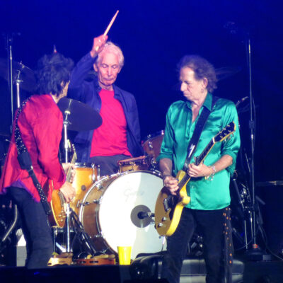 Charlie Watts on stage with Ron Wood and Keith Richards in 2019.