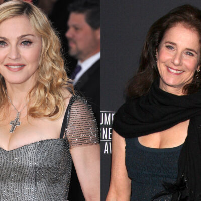 Side-by-side photos. Madonna on the left, Debra Winger on the right.