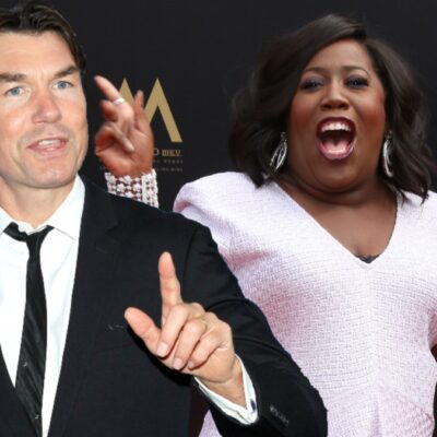 Two separate photos featuring Jerry O'Connell wearing a suit and Sheryl Underwood in a light pink dress