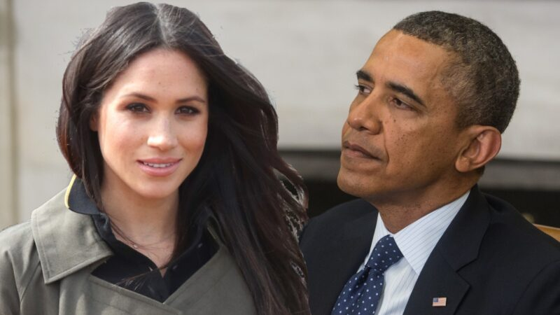 A photo of Meghan Markle, left, imposed over a photo of former president Barack Obama, right