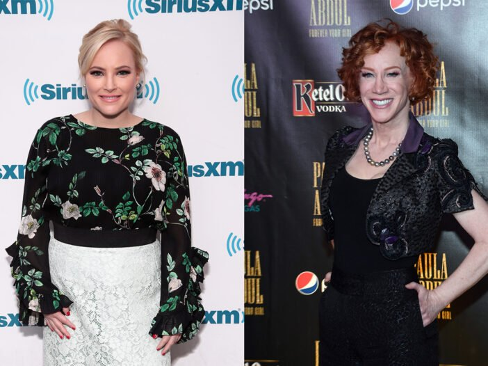 Side-by-side photos. Meghan McCain on the left, Kathy Griffin on the right.