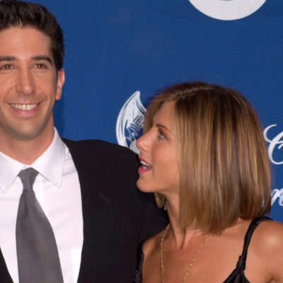 Jennifer Aniston on the right, looking up at David Schwimmer