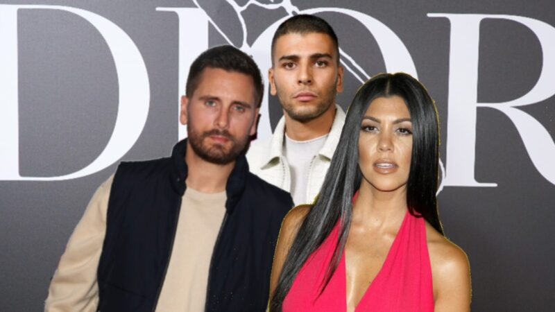 A photo of Scott Disick wearing a beige shirt and black vest, and Kourtney Kardashian in a pink dress, layered over a photo of Younes Bendjima, in a white jacket, before a gray background
