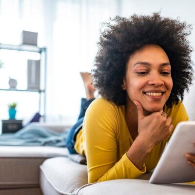 Woman reading e-book.
