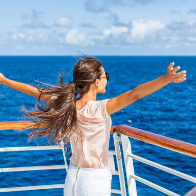 Woman on a cruise ship
