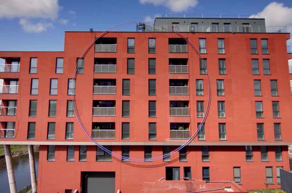 Exterior shot of the apartment building where Netflix's 'The Circle' is filmed