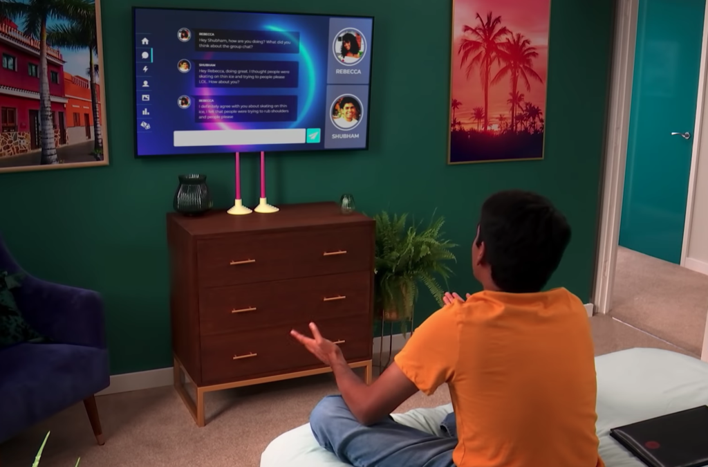 Shubham using The Circle chat to talk to Rebecca on Netflix's 'The Circle'