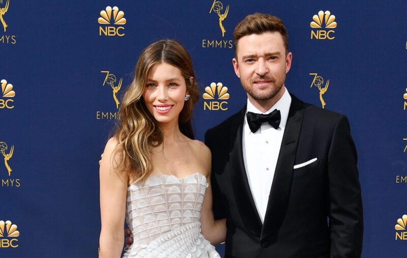 Jessica Biel in a white dress with Justin Timberlake in a tuxedo