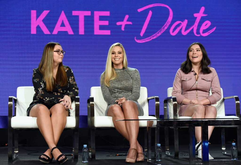 PASADENA, CA - FEBRUARY 12: (L-R) Cara Gosselin, Kate Gosselin and Mady Gosselin of 'Kate Plus Date' speak onstage during the TLC portion of the Discovery Communications Winter 2019 TCA Tour at the Langham Hotel on February 12, 2019 in Pasadena, California.