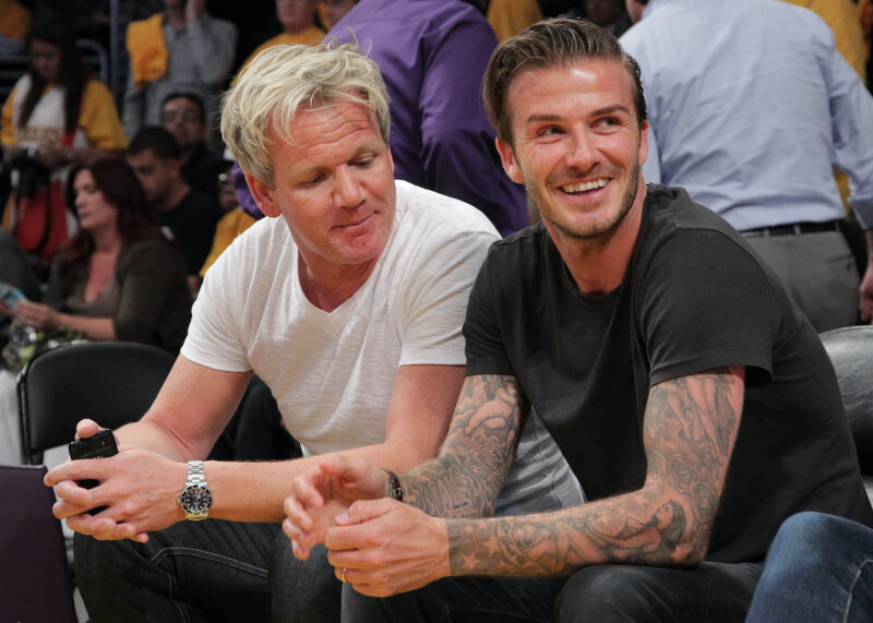 Gordon Ramsay and David Beckham sitting courtside at a Lakers game in 2011