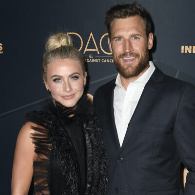 Julianne Hough in a black dress with now ex-husband Brooks Laich in a black suit