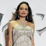 Angelina Jolie in a silver dress