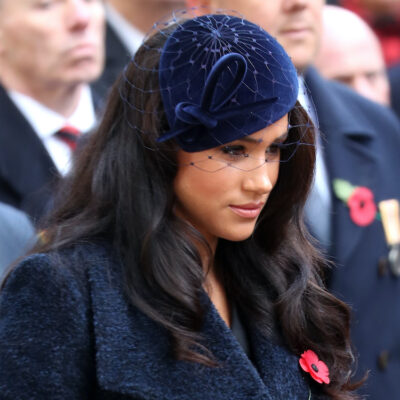 Meghan Markle in a blue outfit outdoors