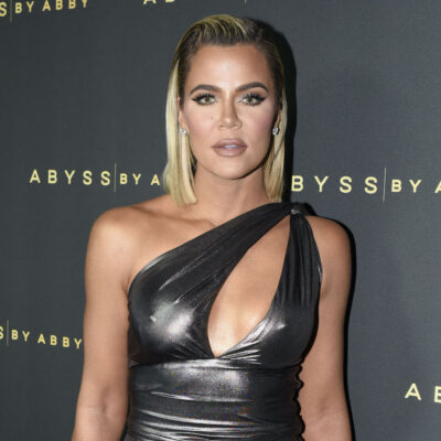 Khloe Kardashian in a silver dress