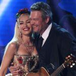 Gwen Stefani and Blake Shelton hug on stage after performing together
