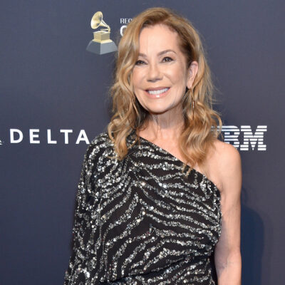 Kathie Lee Gifford in a black and white dress