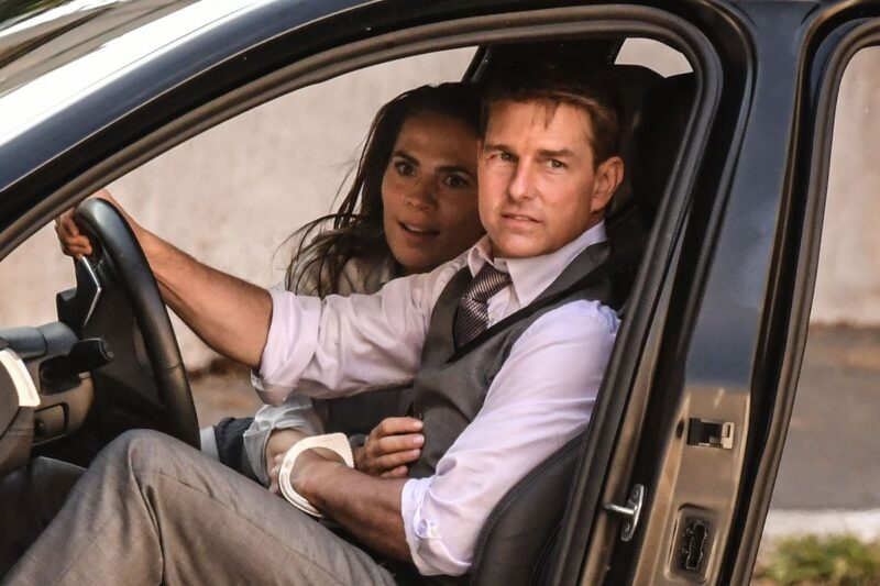 Tom Cruise and Hayley Atwell shooting Mission: Impossible together in a car