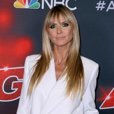 Heidi Klum in a white jacket