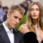 Justin Bieber in a tux with Hailey Baldwin in a black dress