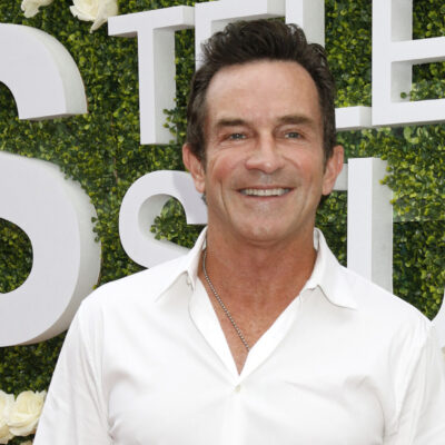 Jeff Probst wearing a white button down shirt in 2017