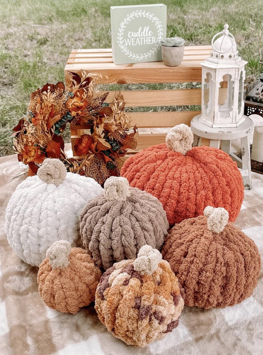 Chunky Knit Pumpkin Pillow Decor