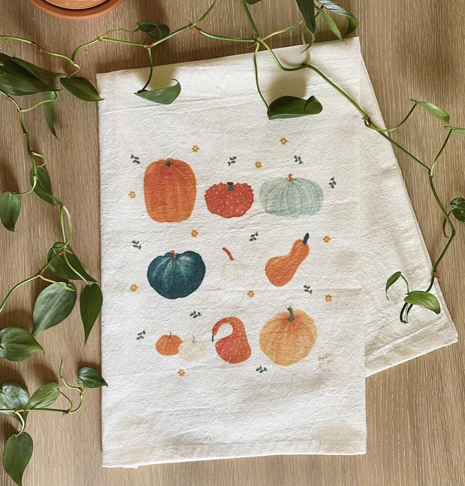 Pumpkin Fall Tea Towel