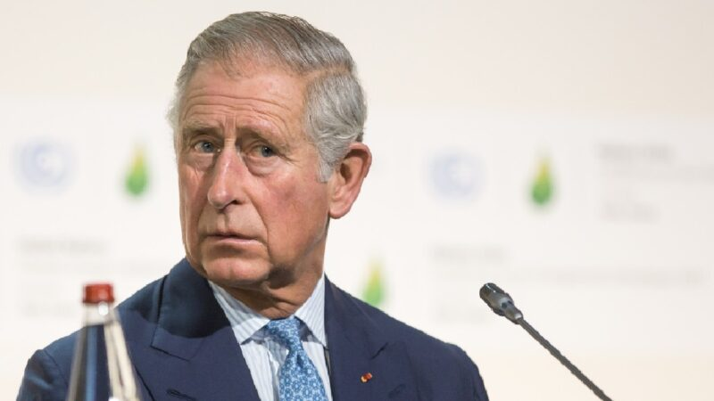 Prince Charles wears a blue suit on stage against a white background
