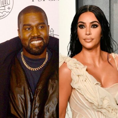 side by side images of Kanye West smiling in a coat and Kim Kardashian in a tan dress