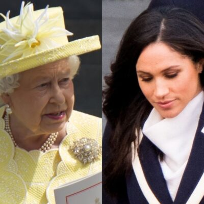side by side photos of Queen Elizabeth in yellow and Meghan Markle in blue