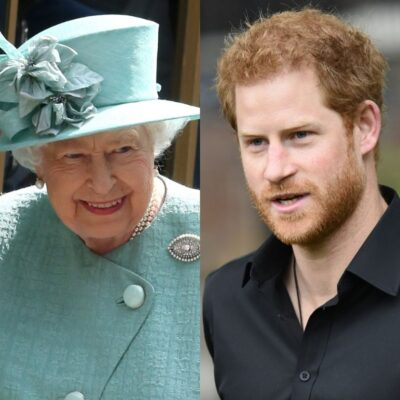 side by side photos of Queen Elizabeth and Prince Harry
