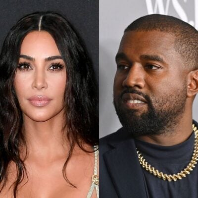 side by side images of Kim Kardashian and Kanye West