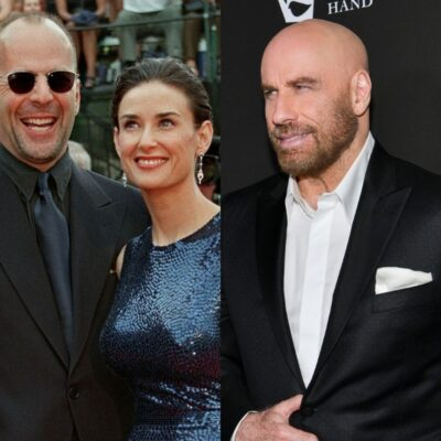 side by side photos of Bruce Willis, Demi Moore in 1997 and John Travolta in 2020
