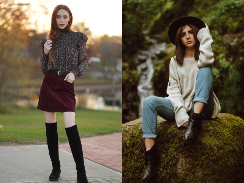 Side by side images of women wearing fashionable boots.