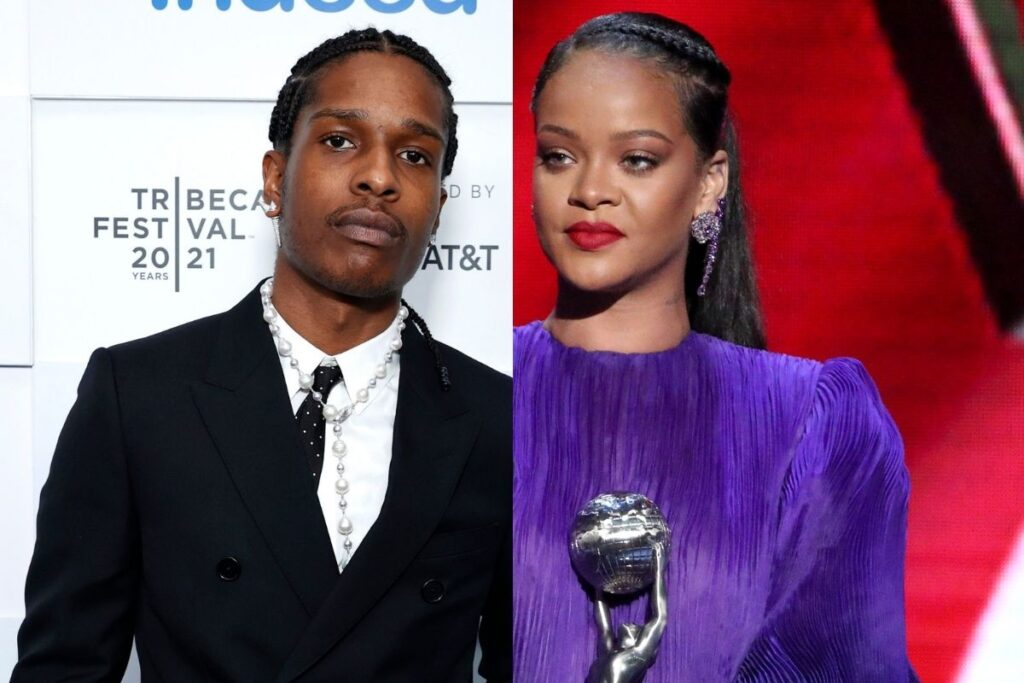 side by side photos of ASAP Rocky in a black suit and Rihanna in a purple dress