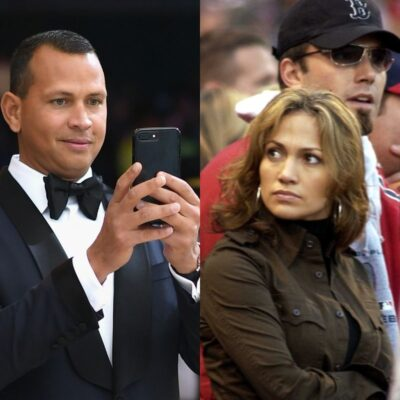 side by side photos of Alex Rodriguez in a tux holding his phone and a 2000s photo of Ben Affleck and Jennifer Lopez at a baseball game