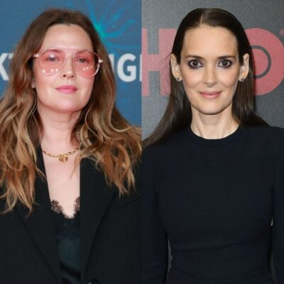 side by side photos of Drew Barrymore in a black outfit and Winona Ryder in a black outfit