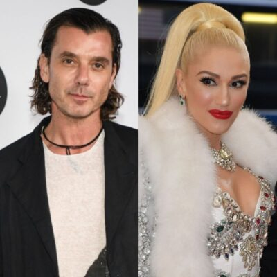 side by side photos of Gavin Rossdale in a black jacket and Gwen Stefani in a white fur coat