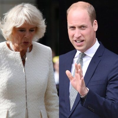 side by side photos of Camilla Parker Bowles and Prince William