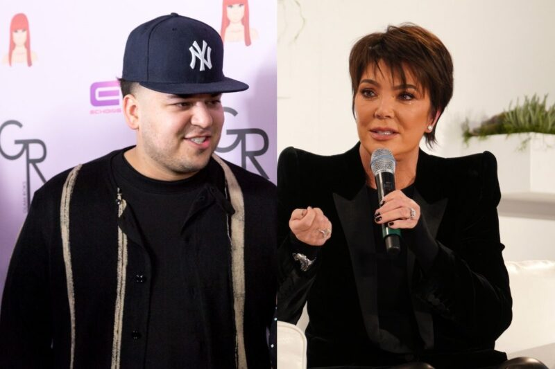 side by side photos of Rob Kardashian and Kris Jenner