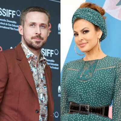 side by side photos of Ryan Gosling in a red suit and Eva Mendes in a blue dress