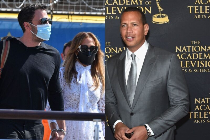 side by side photos of Ben Affleck and Jennifer Lopez together and Alex Rodriguez