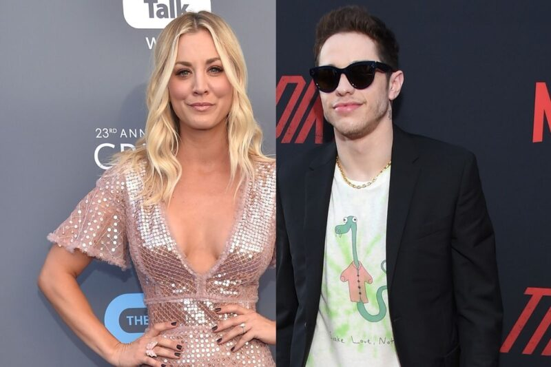 side by side pics of Kaley Cuoco in a rose dress next to Pete Davidson in a black jacket