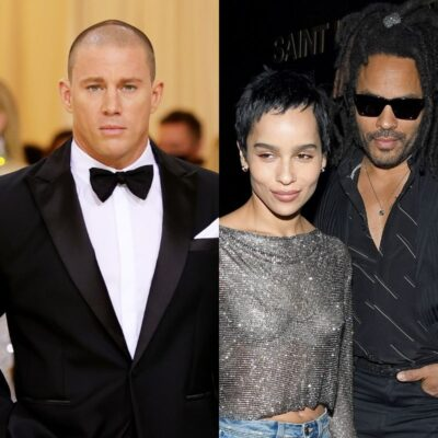 side by side photos of Channing Tatum in a tuxedo and Zoe and Lenny Kravitz