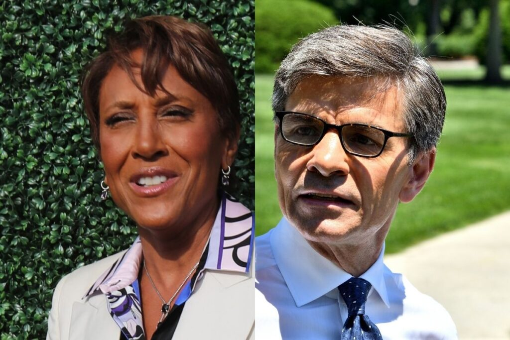 side by side close up photos of Robin Roberts and George Stephanopoulos