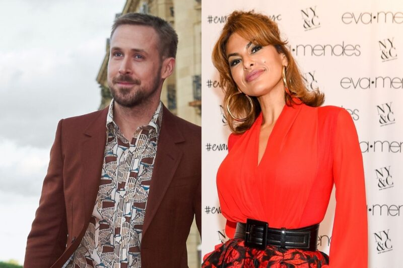 side by side images of Ryan Gosling in a red suit and Eva Mendes in a red dress