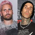 side by side photos of Scott Disick and Travis Barker
