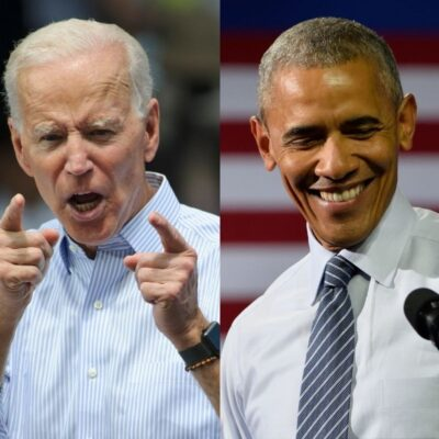 side by side photos of Joe Biden pointing and Barack Obama smiling