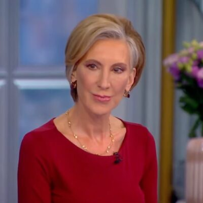 Carly Fiorina wears a red blouse during her visit to The View